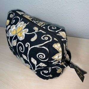 VERABRADLEY Black Yellow 12 inch Cosmetic Bag